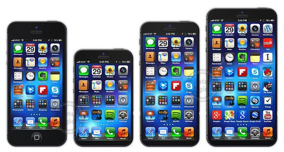 Size comparison from left to right iPhone 5, iPhone 6 Mini, iPhone 6, & iPhone 6 XL
