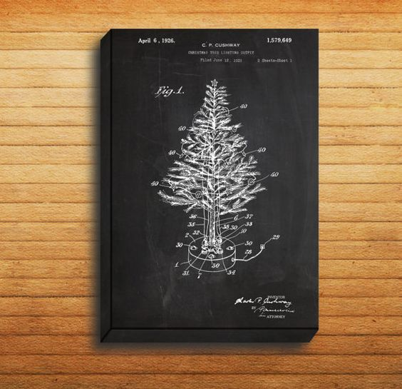 CANVAS - Christmas Tree Patent, Christmas Tree Poster, Christmas Tree Blueprint,  Christmas Tree Print, Christmas Tree Art, Christmas Decor by STANLEYprintHOUSE  34.99 USD  We use a specially manufactured cotton blend canvas for archival printing, and high end printers to produce a stunning quality canvas that's made to last.  The printing technology used for the canvas is eco-solvent.  Our art is guaranteed to turn heads and will make a great affordab ..  https://www.etsy.com/ca/l..