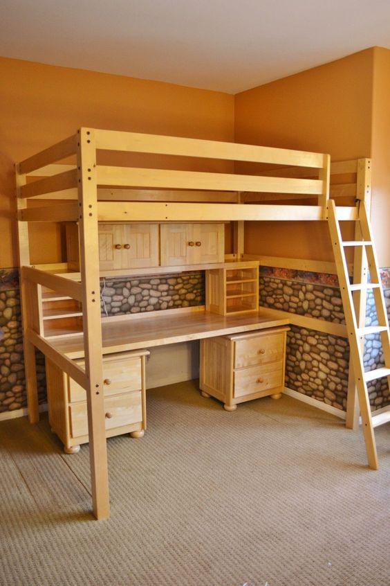 Children's Student Full-Sized Loft Bed and Desk System picclick.com