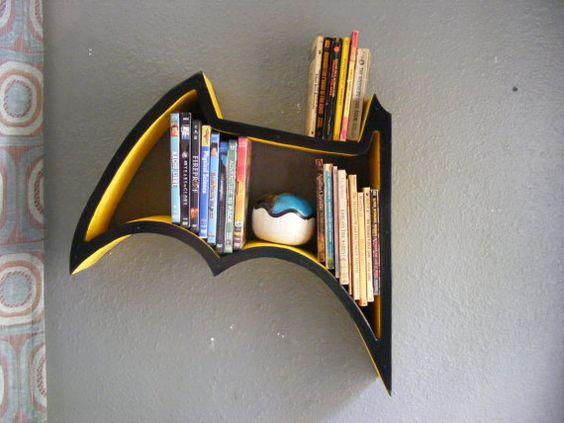 Black And Yellow Batman Shelf By Goodshepardwoodwork On Etsy