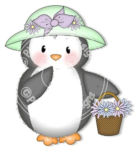 Digital Digi Stamp Penguin in Hat   Birthday by PinkGemDesigns