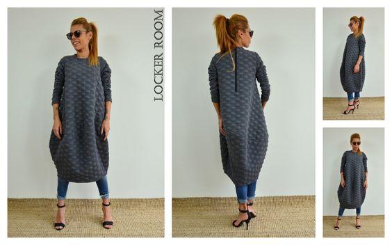 Grey loose tunic / Maxi unique dress / Oversize loose tunic dress / Extravagant top by ClothesByLockerRoom on Etsy