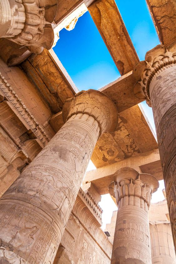 Temple of Kom Ombo Tall columns and parts of the...
