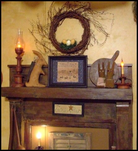 A primitive place primitive colonial inspired for Mantel display ideas