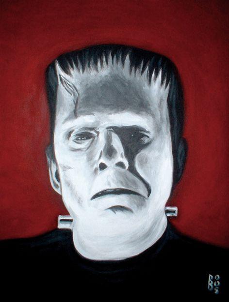 Frankenstein, painting, pascal benoit, art, boris karloff