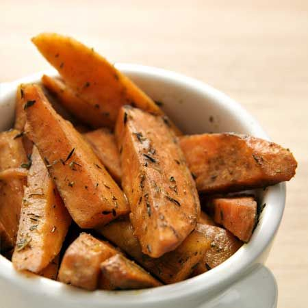 rosemary sweet potato wedges:2 tablespoons butter  2 tablespoons olive oil  1 tablespoon chopped fresh rosemary or 2 teaspoons dried  3 medium sweet potatoes  1 teaspoon salt  1/4 teaspoon pepper :  Cut potatoes lengthwise into wedges. Mix and heat remaining ingredients in a bowl.Toss w/potatoes. Bake on the upper part of the oven (flipping once) for 30min. @ 450*