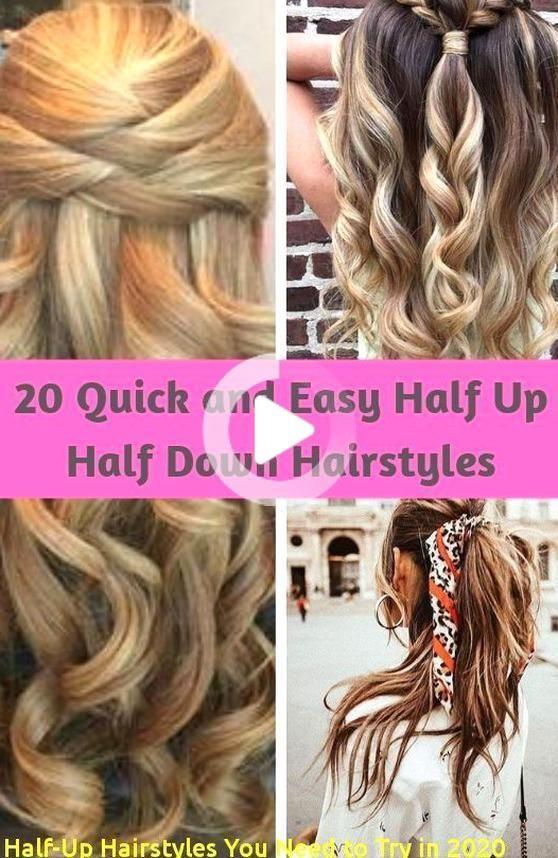 Half Up Kapsels Je Moet Proberen In 2020 20 Snel En Gemakkelijk De Helft De Helft Omlaag Kapsels In 2020 Half Up Hair Hair Styles Up Hairstyles