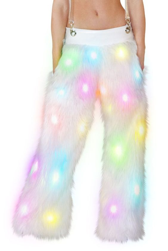 Light Up Faux Fur Pants with Suspenders by J Valentine