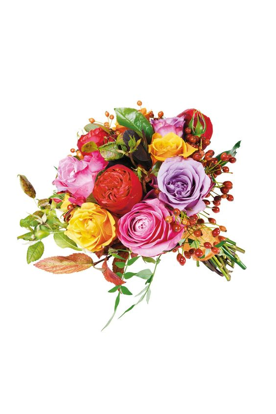 Berry Beautiful Bouquet: Cherry Brandy rose, All For Love rose, rosehip and seasonal English foliage