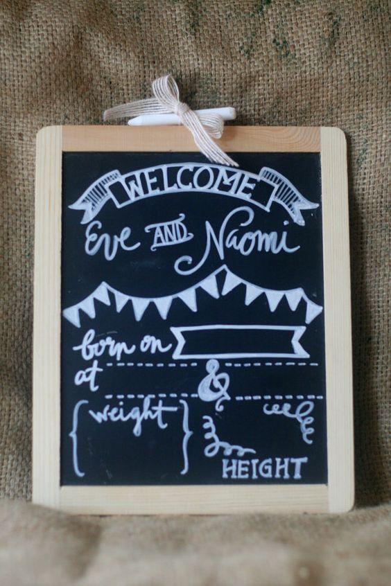 Chalkboard hospital door hanger birth announcement hand – Chalkboard Birth Announcement