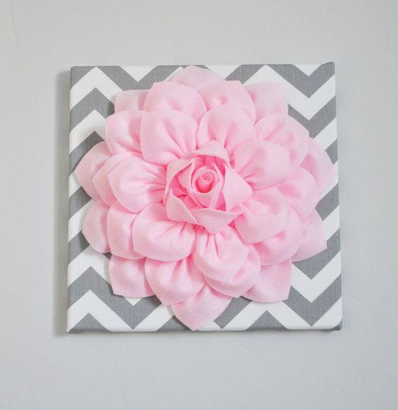Juli Verkauf Wandkunst leichte rosa Dahlie grauen und von bedbuggs