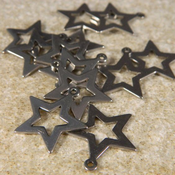 Stainless Steel Star Charms Pendants by MetalNMoreSupply on Etsy
