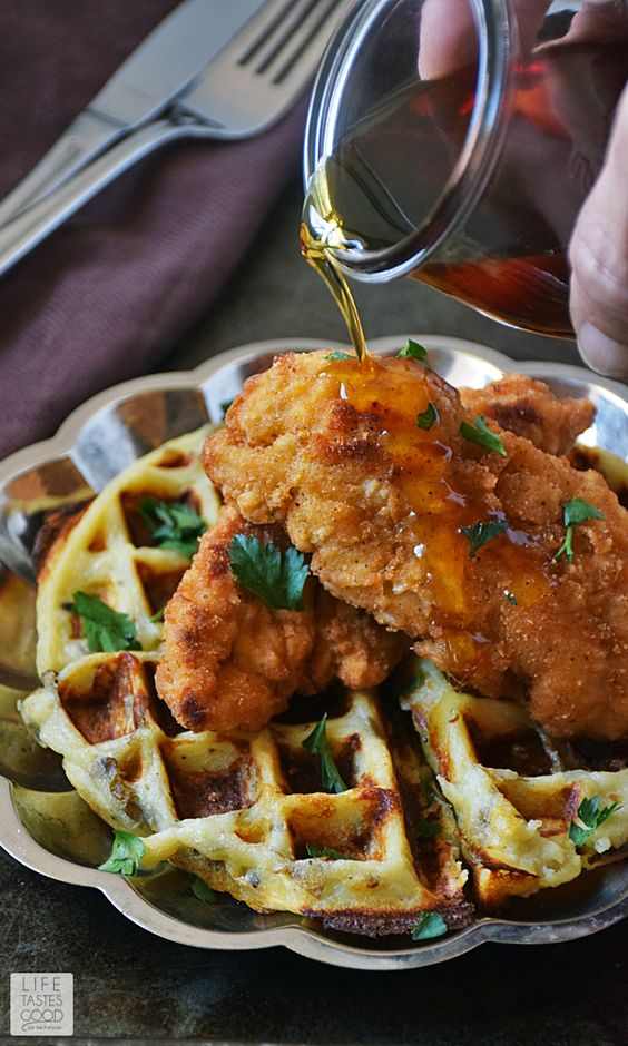 Chicken and Waffles Poutine | by Life Tastes Good | The savory chicken and cheesy potato waffles combined with the sweetness of pure maple syrup is a match made in taste bud heaven, y'all!! #LTGrecipes #SundaySupper