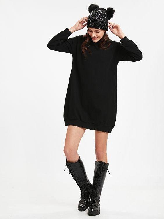 Lcw Bayan Elbise Modelleri Siyah Kisa Uzun Kol Bogazli Salas Triko Elbise Siyah Rugan Uzun Bagcikli Cizme Siyah Rugan Moda Stilleri Elbise Modelleri