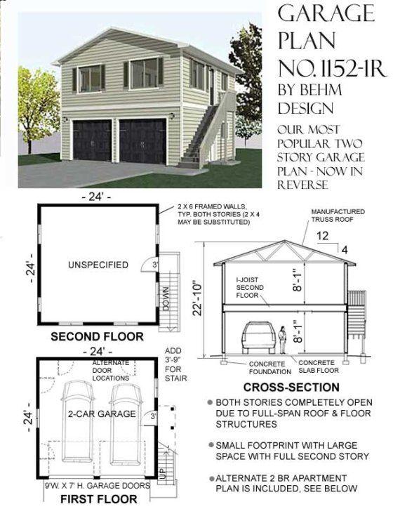 1192 5 24 X 28 1 Car Garage Plan With Loft Behm Garage Plans Garage Plans With Loft Garage Apartment Plans Garage Apartment Floor Plans