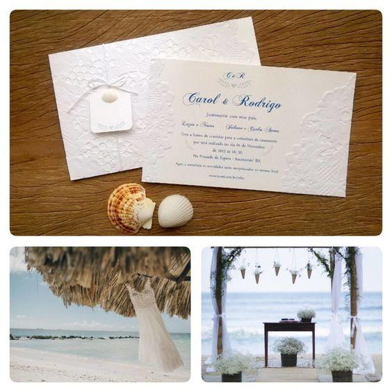 Convite Casamento Praia- aplic. Conchas