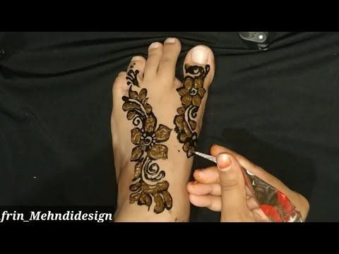 Black And Red Cone Foot Mehandi Designs Simple Black Outline