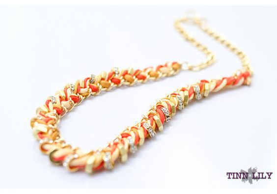 Silk Hex Nut and Chain Woven Necklace