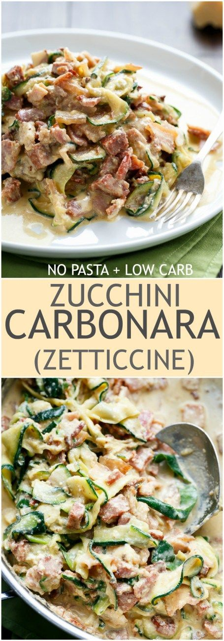 Zucchini, Zucchini carbonara and Low carb on Pinterest