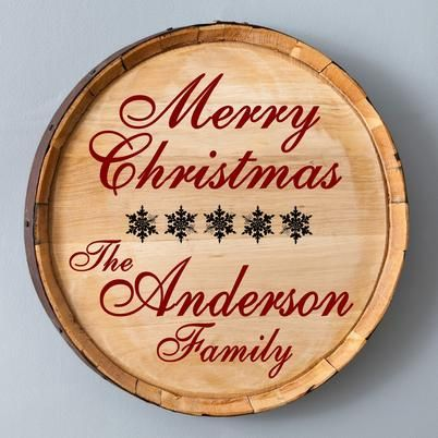 Showcase your home or office with a Wood Barrel Sign. It's Stylish and classy way to display your Christmas style in a new way., The lovely Personalized Christmas Wood Barrel Sign is the perfect present for just about anyone on your.