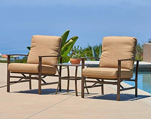 Suncrown Outdoor Furniture Chairs Glass Top Table Bistro Set 3