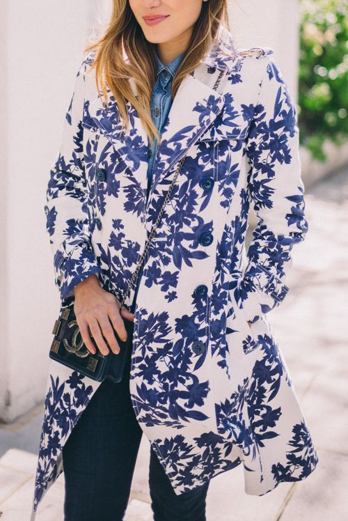 Gal Meets Glam Blue & White Floral Trench by Hobbs: