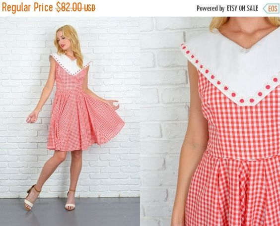 ON SALE Vintage 60s 70s Red Dress Plaid gingham by thekissingtree