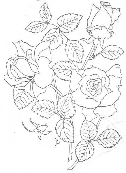 Designs floral for fabric painting rose large g