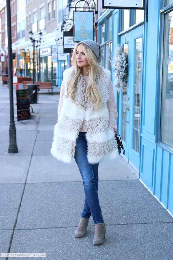 Pastel Love: Fake Fur Vest, Grey Hat