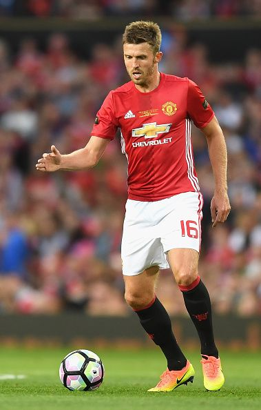 Michael Carrick of Manchester United in action during the Wayne Rooney Testimonial match between Manchester United and Everton at Old Trafford on...