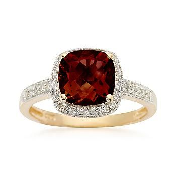 Ross-Simons - 2.25 Carat Cushion-Cut Garnet and Diamond Ring in 14kt Yellow Gold - #472871
