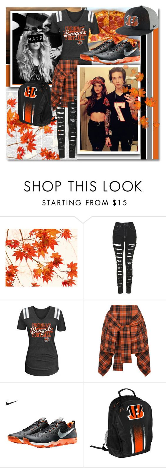 """""""Go to Bengals Match With Andy And Juliet!"""" by isabeldizova ❤ liked on Polyvore featuring WALL, The Ragged Priest, Vivienne Westwood Anglomania, Forever Collectibles and NIKE"""