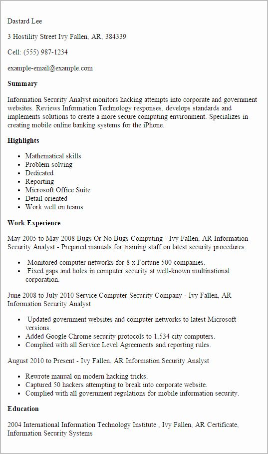 Cyber Security Analyst Resume Fresh Information Security Analyst Resume Printable Planner In 2020 Security Resume Sample Resume Resume Template Professional