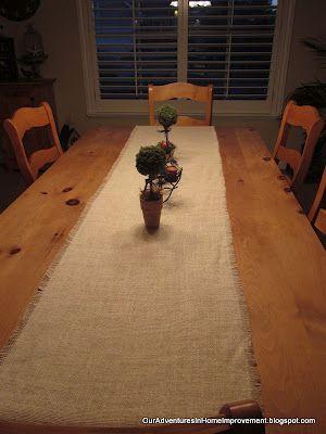Our Adventures in Home Improvement: Burlap Table Runner--PB Look @ DIY Price