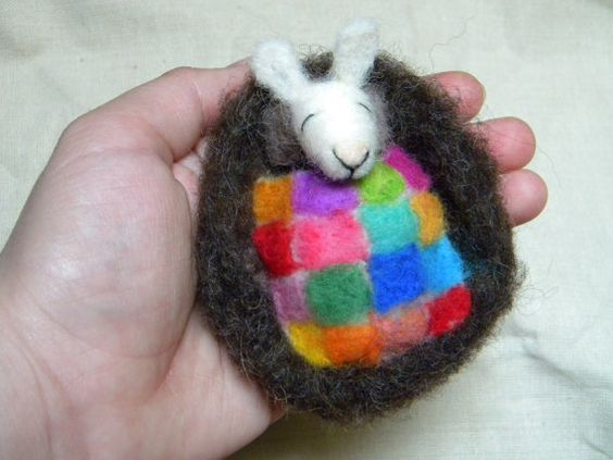 Little bunny sleeper with patchwork quilt  needle by feltingdreams, $30.00