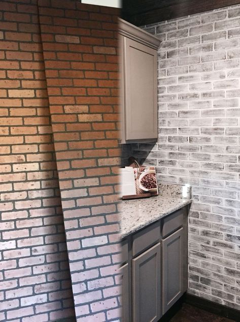 Before And After Lowes Brick Panel Painted White Brick Backsplash Faux Brick Faux Brick Walls Brick Paneling Faux Brick