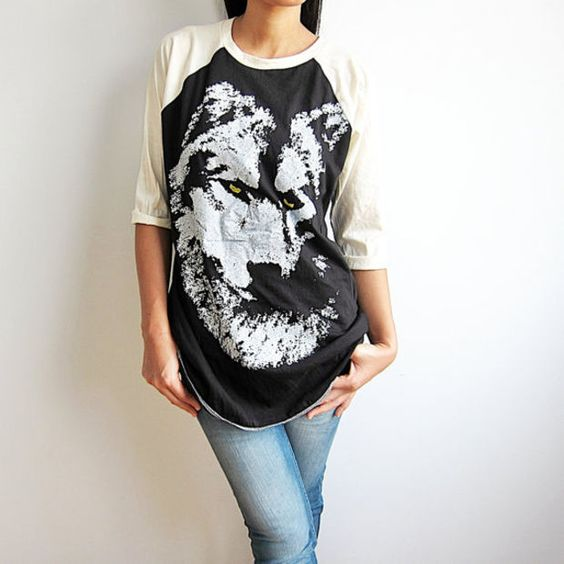 Wolf TShirts Fox Wolves Animal Baseball Tee Raglan T Shirt Long Sleeve Shirts Size M