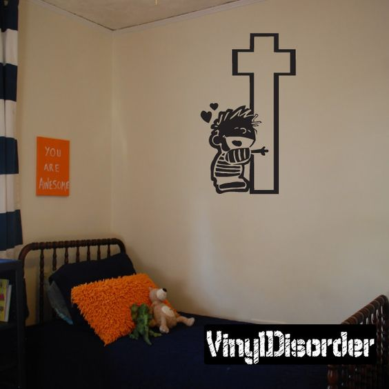 Calvin Hugging Hug Cross Wall Decal - Vinyl Decal - Car Decal - DC070