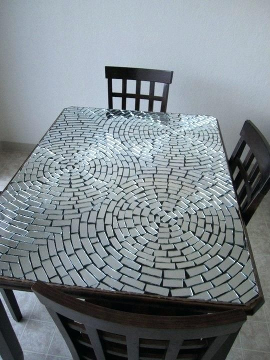 Mosaic Tile Table Top Mirrored Mosaic Table Top My Friend Made