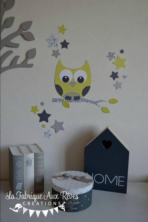 stickers dcoration chambre enfant bb hibou chouette toiles vert anis gris fonc gris clair - Chambre Bebe Gris Fonce