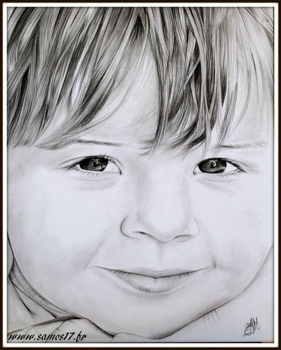 #portrait #enfant au #crayon d'aprés photos sur commande. www.samos17.fr