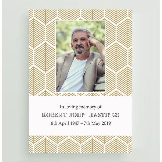 Memorial Small A7 Keepsakes Photo Poem Cards Prayer Personalised Printed Modern Monochrome Funeral
