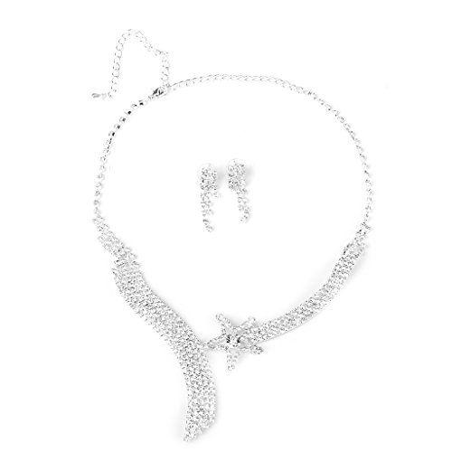Braut Hochzeitsfest Schmuck Stern Strass Halskette Ohrring Set