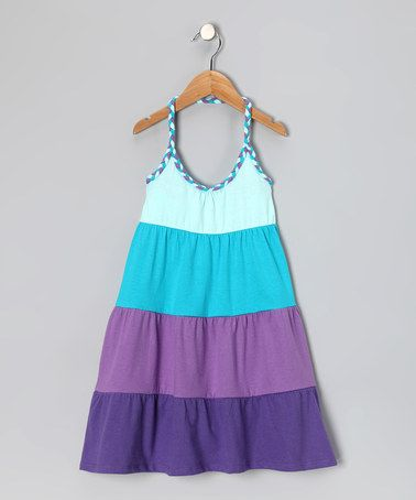 Take a look at this Blue & Purple Stripe Halter Dress - Girls by Star Ride on #zulily today!