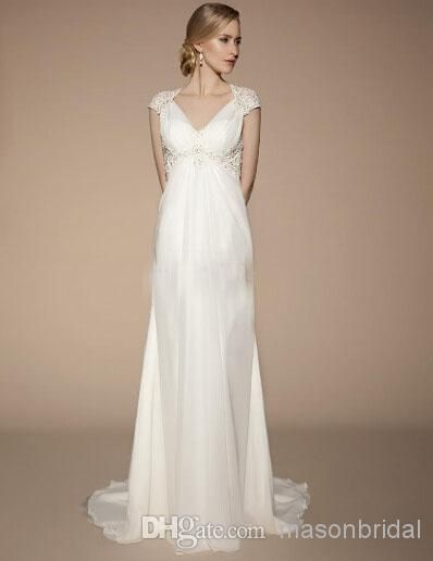 2014 High Quality Ivory Short Sleeve Wedding Dresses Vintage V-Neck Covered Button Chapel Train Bridal Gowns Applique Maternity Wedding Gown