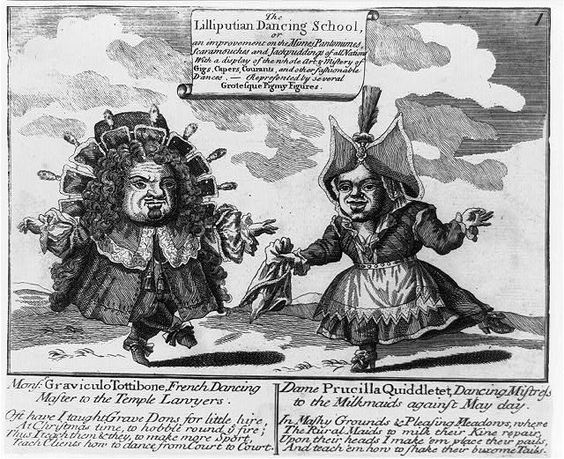 The Lilliputian Dancing School, or ... Monsr. Gravieulo Tottibone, French Dancing Master to the Temple Lawyers [dancing with] Dame Prucilla Quiddletet, Dancing Mistress to the Milkmaids against May Day