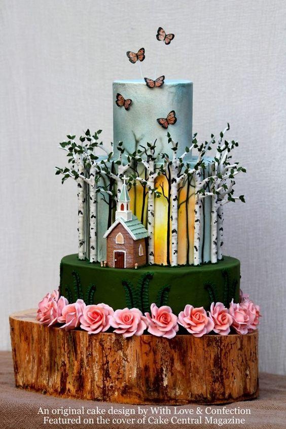 Birch forest church wedding cake