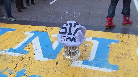 World Series trophy at the Boston Marathon finishing line