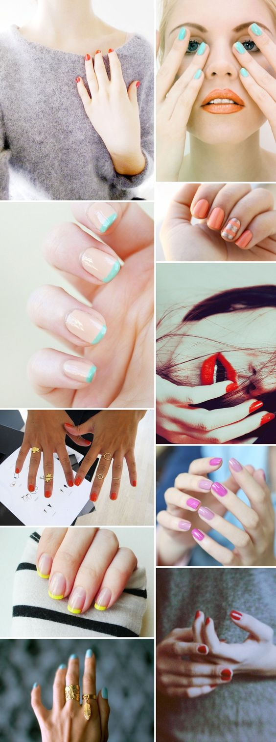 Love these gorgeous bright colour manicure ideas for short nails