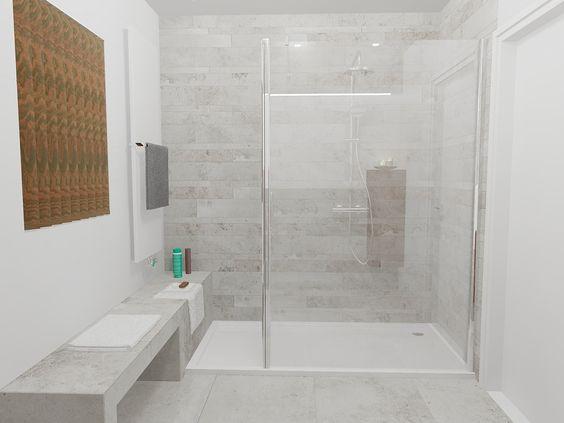 Mooie lange zitbank die doorloopt tot in de inloopdouche ook makkelijk voor het afleggen van - Tot een badkamer ...